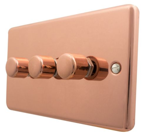 G&H CBC13 Standard Plate Bright Copper 3 Gang 1 or 2 Way 40-400W Dimmer Switch